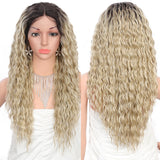 Kalyss 24 inches Synthetic Wigs For Women with Baby Hair Loose Wave Curly 4'' Middle Lace Part Japan-made Frontal Swiss Lace Front Wigs