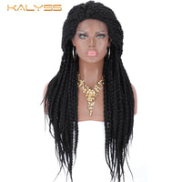 Kalyss 28 Inch Braided Wigs for Black Women Synthetic Lace Front Wig with Baby Hair Black Box Braids Natural Side Parting Wig