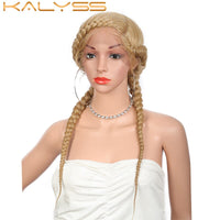 Kalyss 24 '' Fully Hand-Braided Swiss Lace Front Dutch Twins Braided Wigs with Baby Hair for Women No Split End Black Braided Wig