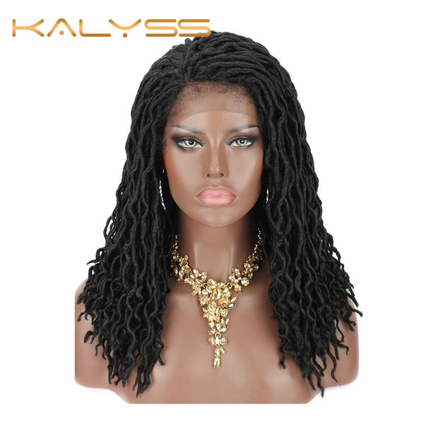 Kalyss 18 Inch Faux Loks Lace Wig Synthetic Goddess Fear Wig Lace Frontal Braided Wigs for Black Women Loks Hair
