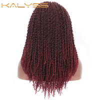 Kalyss 20 Inch Fully Braided Wigs for Women Pre-twisted Passion Twists Crochet Hair 4x4 Swiss Lace Front Wig with Baby Hair