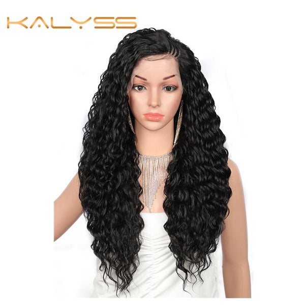 "Kalyss 26 ""Top Side Braided HD Transparent Swiss Lace Front Wigs with Baby Hair for Women Water Ripple Wavy curly Heat Resistant"