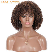 Kalyss 13 Inch Short aforesaid Synthetic Wigs for Black Women Kinky Curly Mix brown wigs with bangs Full machine made