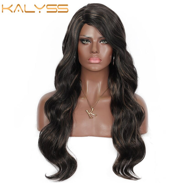 Kalyss Long Synthetic Hair Waterfall Curly Wave Side Parted Wigs for Women High Temperature Lace Front Wig
