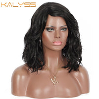 Kalyss Black Loose Wave Curly Synthetic Wigs with Side Bangs for Black Women Side Parting Hair Short Wigs