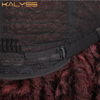 Kalyss 24 Inch Red Wig Synthetic Braids Wigs full wig Middle full wig Parted Loc Braided Wigs with Curly Ends for Women