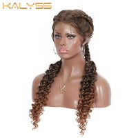 Kayla 28 Inch Hand Braid Wig With Baby Hair for Black Women Synthetic Lace Front Dutch Twins Braid Wigs Middle Parted