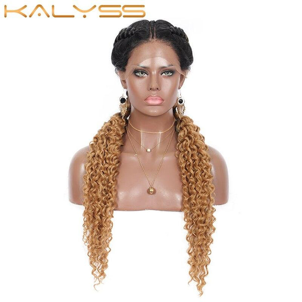 Kaylss 28 Inch Hand Braid Wigs for Black Women Synthetic Lace Front Dutch Twins Braid Wigs Middle Parted Bohemian Curly Ends