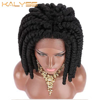Kalyss Short Off Black Synthetic Twist Crochet Braids Hair Wigs 12 inches for Black Women Middle Parting Lace Front Braids Wigs