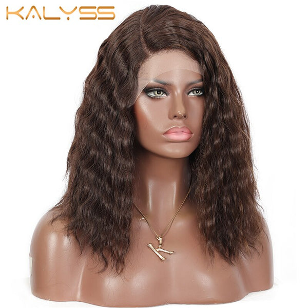 Kalyss 5 Inch Deep Side Parted Synthetic Wigs for Women with Baby Hair Medium Curly Wavy Heat Resistant Lace Front Wigs