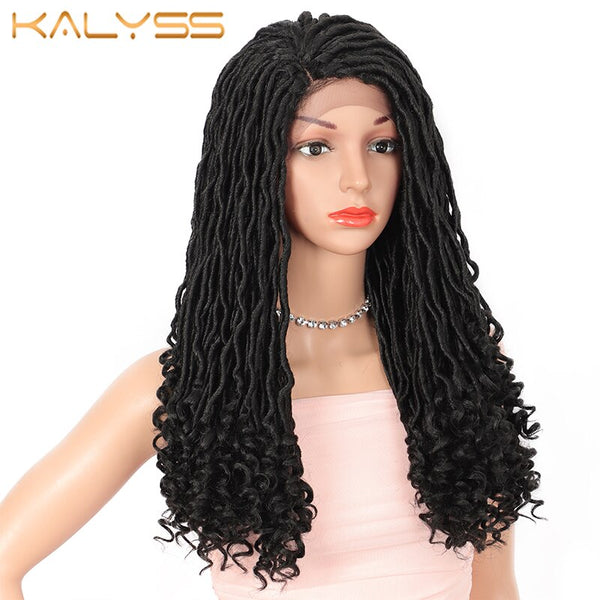 Kalyss 22 inch Goddess Locs Faux Braided Lace Front Wigs for Black Women Japan-made Synthetic Wig with Curly Ends