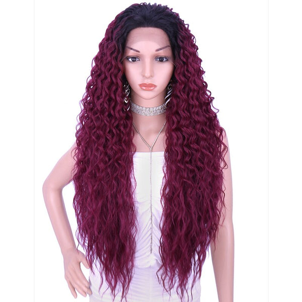 Kalyss 28 Inch Synthetic Curly Lace Front for Black Women Wig with Baby Hair Wigs for Cosplay Wig Women Wigs