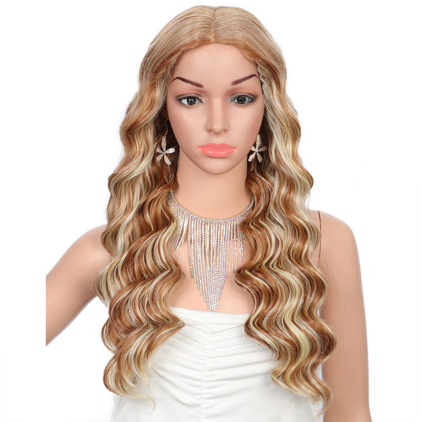 Kalyss 19inch Long Body Ocean Waves Swiss Lace Font Wigs for Women Curly Japan-made Ready-to-wear Middle Parted Synthetic Hair Lace Wig
