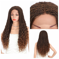 "Kalyss 24"" Goddess Box Braids with Curly Ends Middle Parted Lace Front Synthetic Braided Wigs"