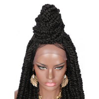 "Kalyss 30"" Passion Twist Braided Wigs 4X4"" Lace Front Braids Wig with Water Wave Curls Ends"