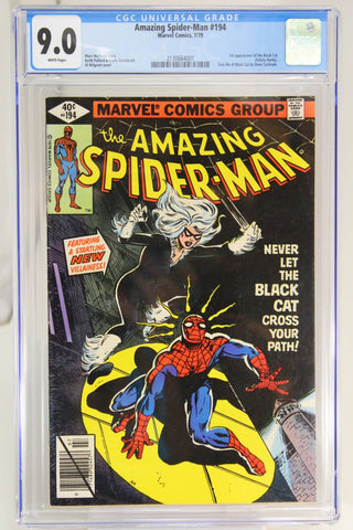 Amazing Spider-Man #194 CGC 9.0, 1st Appearance Black Cat, White Pages, Key