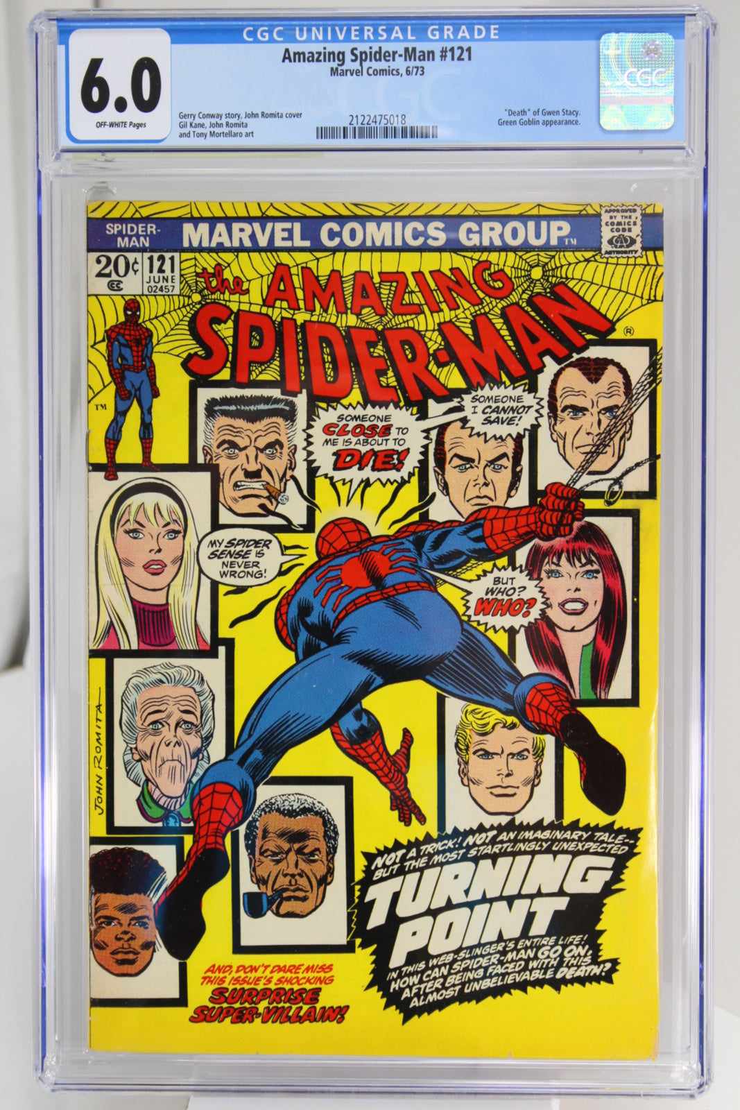 Amazing Spider-Man #121 CGC 6.0, Death of Gwen Stacy, Bronze Age Key