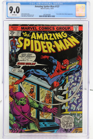 Amazing Spider-Man #137 CGC 9.0, White Pages, Green Goblin