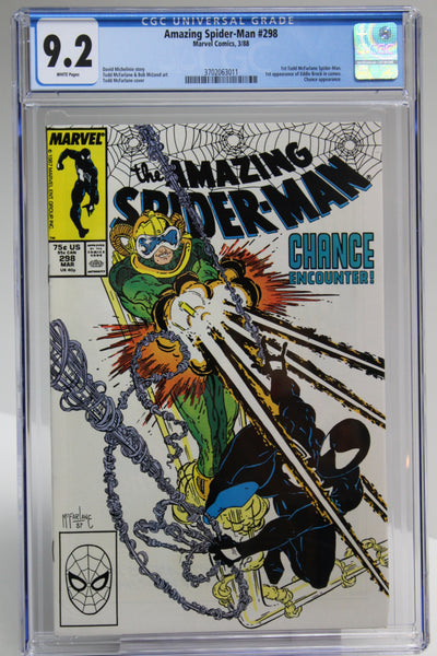 Amazing Spider-Man #298 CGC 9.2, White Pages, 1st Todd McFarlane Issue