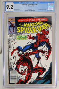 Amazing Spider-Man #361 CGC 9.2 White Pages, 1st Full Appearance Carnage