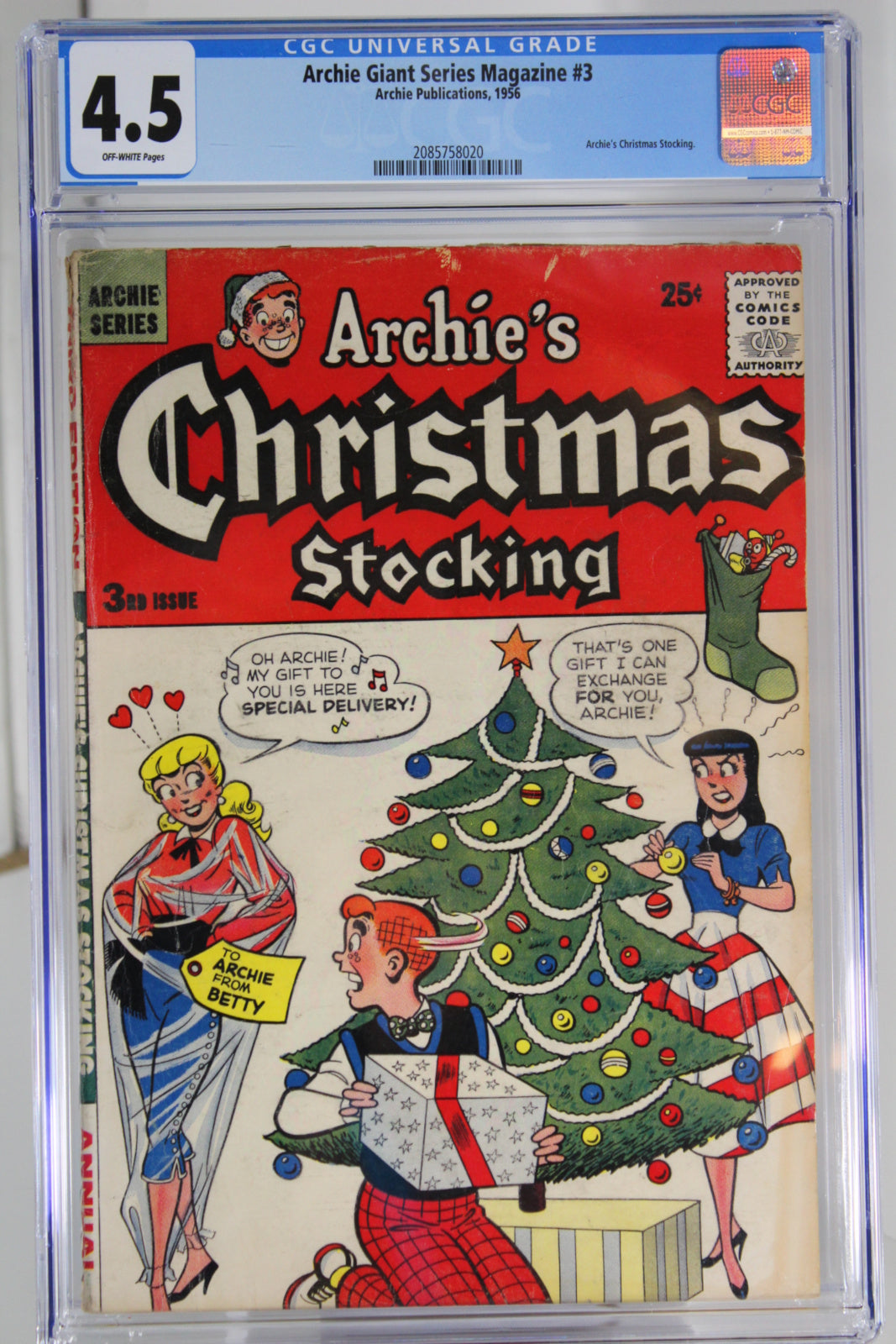 Archie Giant Series Magazine #3 CGC 4.5, Archie's Christmas Stocking