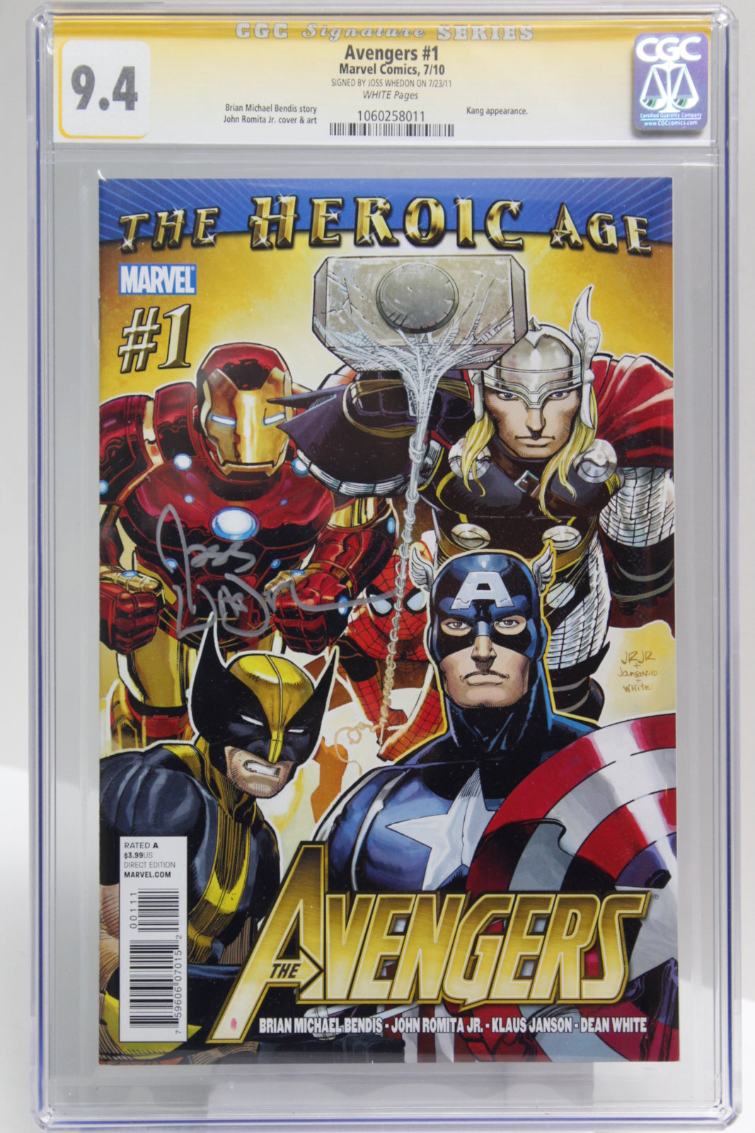 Avengers #1 - SIGNED BY JOSS WHEDON, CGC 9.4, Sig Series