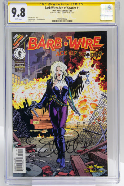 Barb Wire: Ace of Spades #1 -  Signed by Pamela Anderson, CGC 9.8, Sig Series, White Pages