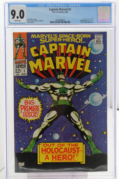 Captain Marvel #1, CGC 9.0, White Pages