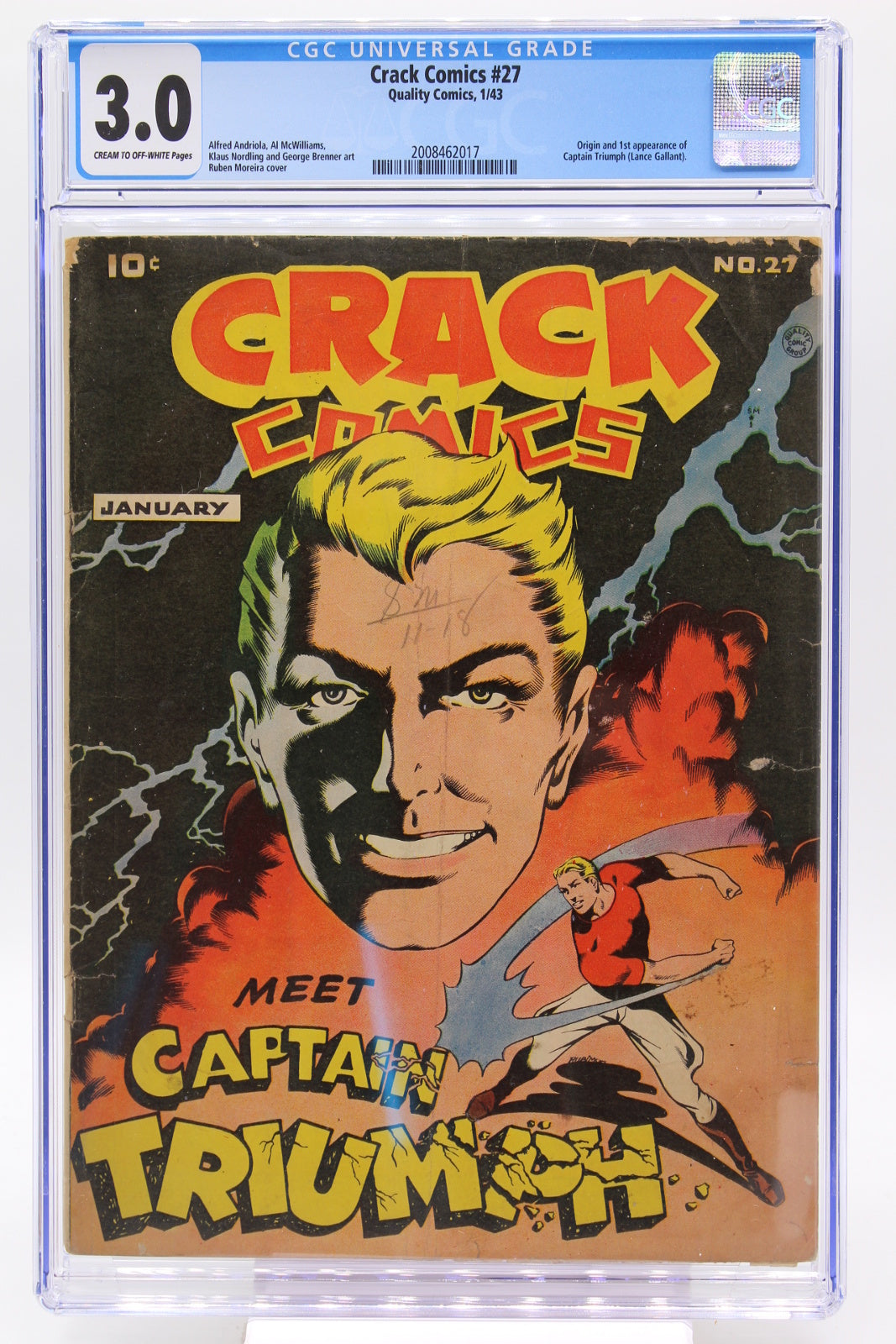 Crack Comics #27 CGC 3.0, 1st Appearance Captain Triumph