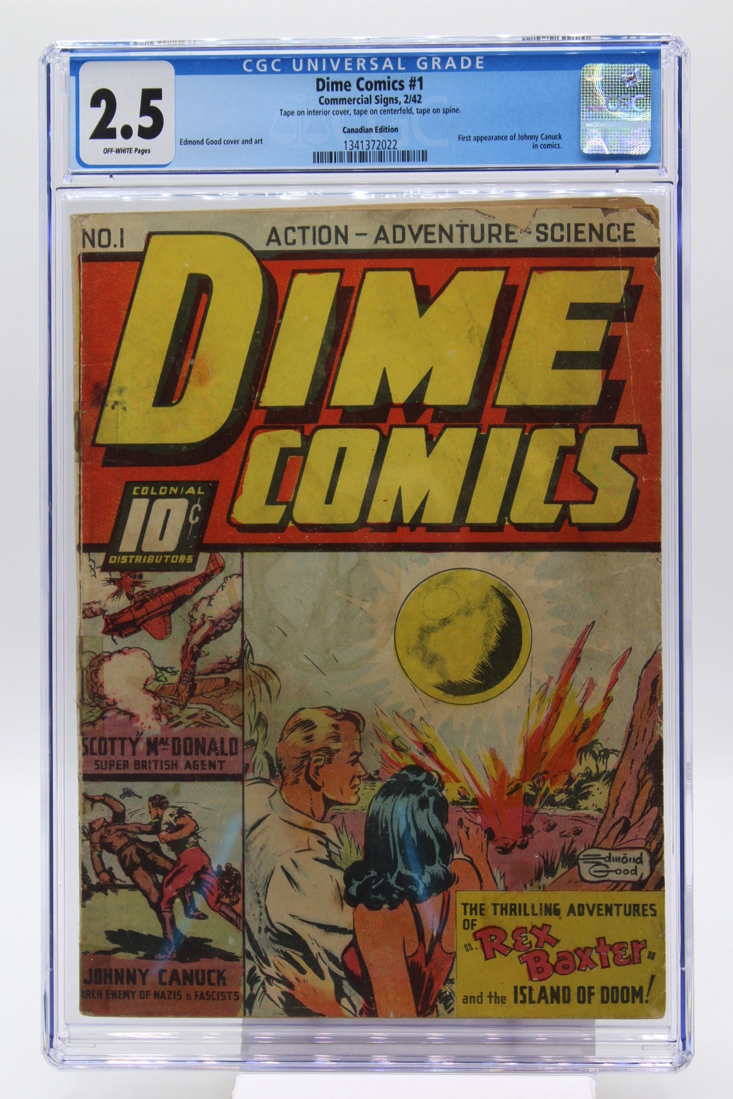 Dime Comics #1 CGC 2.5, Canadian White, 1st Appearance Johnny Canuck in Comics