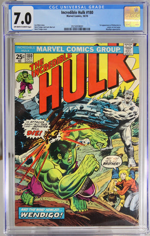 Incredible Hulk #180 - CGC 7.0 - 1st appearance of Wolverine in cameo on last page.