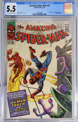 Amazing Spider-Man #21 - CGC 5.5 - Human Torch and Beetle appearance.
