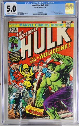 Incredible Hulk #181 - CGC 5.0 - 1st full appearance of Wolverine.