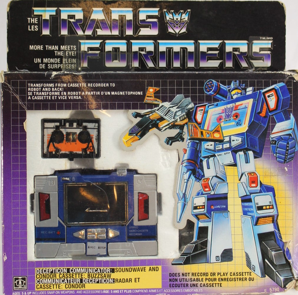 TRANSFORMERS - SOUNDWAVE & BUZZSAW - HASBRO - CANADIAN BOX - USED - COMPLETE