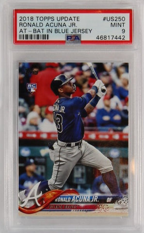 PSA - 2018 - TOPPS UPDATE - #US250 - RONALD ACUNA JR. - AT-BAT IN BLUE JERSEY - MINT 9