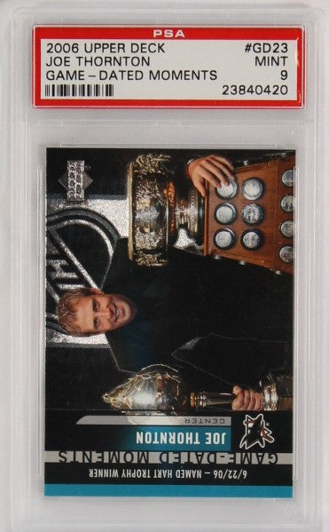 PSA - 2006 - UPPER DECK - #GD23 - JOE THORNTON - GAME - DATED MOMENTS - MINT 9