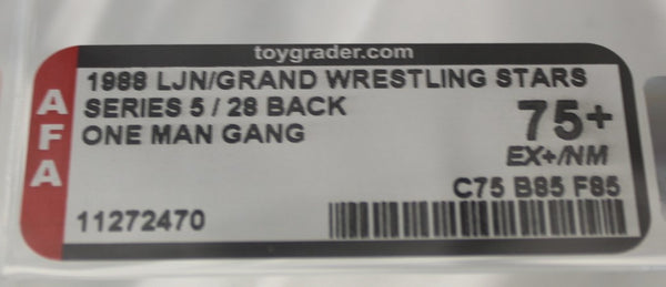 1988 - LJN/GRAND - WRESTLING STARS - SERIES 5 / 28 BACK - ONE MAN GANG - AFA 75+ EX+/NM