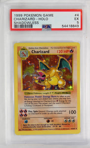 PSA - 1999 - POKEMON GAME - CHARIZARD - HOLO - SHADOWLESS #4 - EX-5