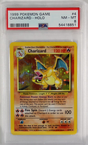 PSA - 1999 - POKEMON GAME - CHARIZARD - HOLO - #4 - 8 NM-MT