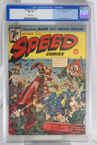 Speed Comics #34 - CGC 7.5 - File Copy - Alex Schomburg cover