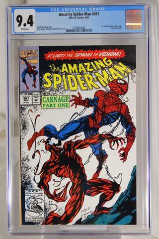 Amazing Spider-Man #361 - CGC 9.4 - 1st full app. of Carnage (Kletus Kasady).