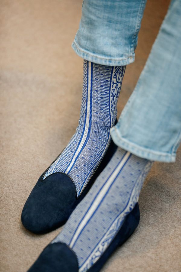 Blue socks with Norwegian pattern