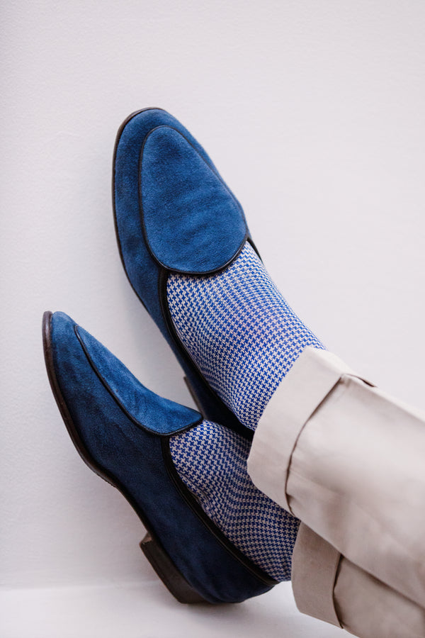 Royal Blue & Beige - Houndstooth - Cotton lisle