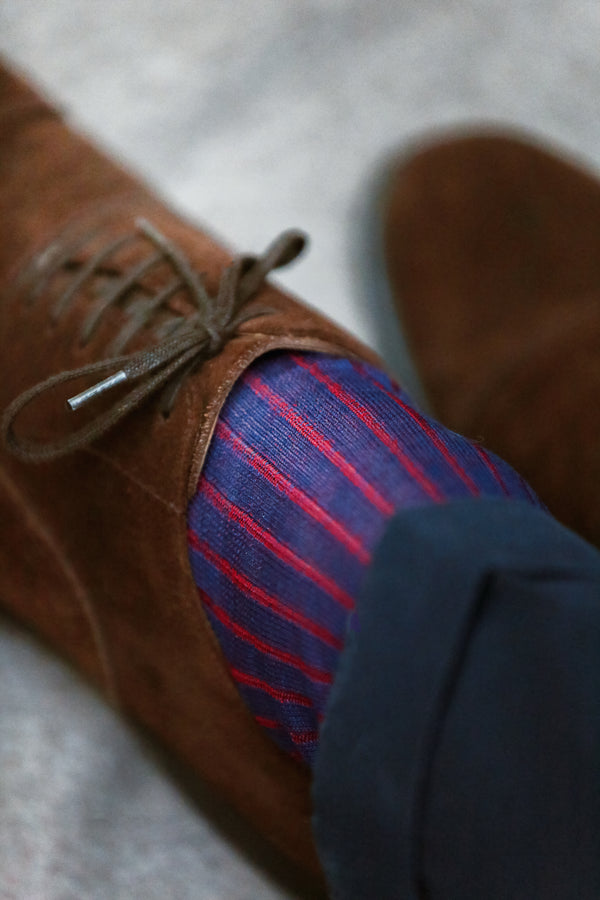 Ultramarine blue & Red - Cotton lisle