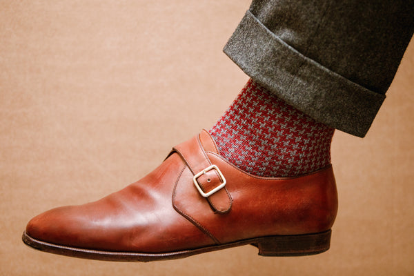 Burgundy & Grey - XXL Houndstooth - Wool