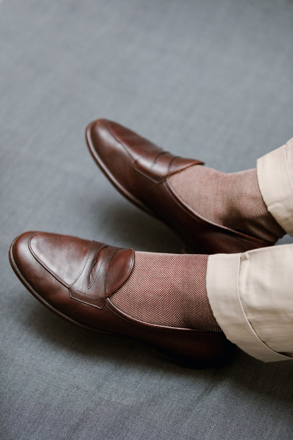Bordeaux & beige - Cotton lisle
