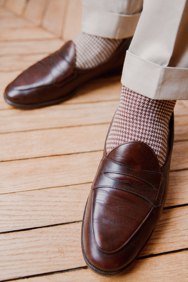Chocolate & Beige - Houndstooth - Cotton lisle
