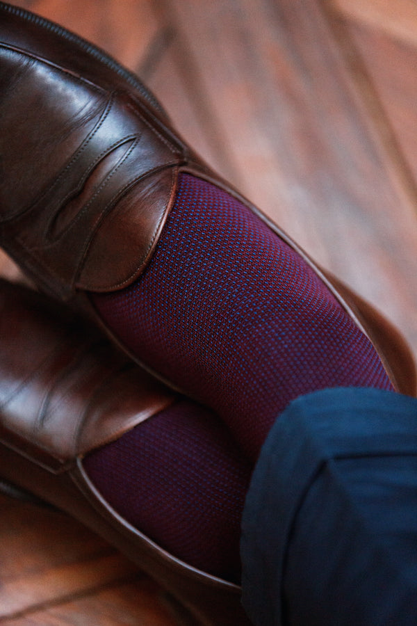 Burgundy & Blue - Birdseye - Cotton lisle
