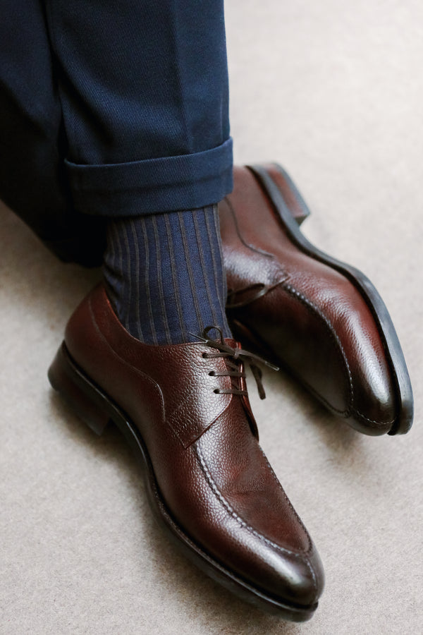 Chocolate & Blue - Wool & Cotton lisle