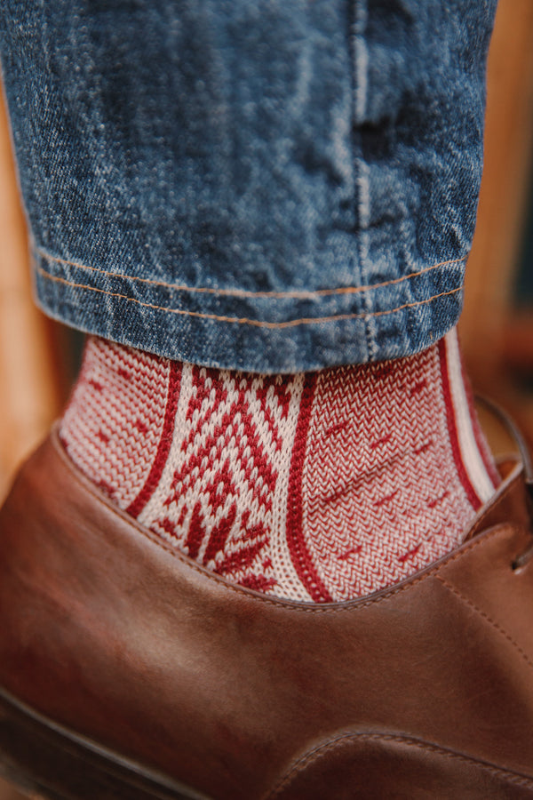 Red socks Norwegian-style pattern